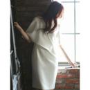 Affordable V-Neck Knee Length Satin Bridal Dress with Short Sleeves