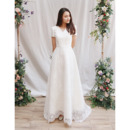 Custom V-Neck Long Satin Lace Wedding Dress with Short Sleeves