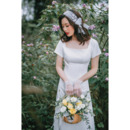 Discount Sheath Square Long Satin Bridal Dress with Short Sleeves