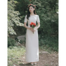 Vintage Column Floor Length Satin Wedding Dress with Short Sleeves