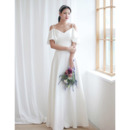 2020 New Sweetheart Long Satin Wedding Dress with Spaghetti Straps