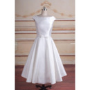 Discount A-Line Sleeveless Tea-Length Taffeta Reception Bridal Dress