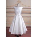 Discount A-Line Sleeveless Tea-Length Taffeta Reception Bridal Dress