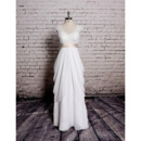 2020 New V-Neck Floor Length Chiffon Wedding Dress with Sashes