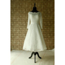 Custom A-Line Knee Length Lace Wedding Dress with Long Sleeves