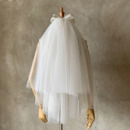 2 Layers Mid-Length Tulle with Bow White Wedding Veils
