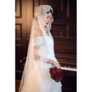 1 Layer Floor-Length Lace White Wedding Veils