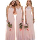 Elegant A-Line Halter Floor Length Chiffon Pleated Bridesmaid Dress