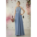 Elegant A-Line Halter Floor Length Lace Chiffon Bridesmaid Dress