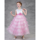 Custom Tea Length Layered Skirt Satin Tulle Little Girls Party Dress