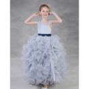 Discount Floor Length Ruffle Skirt Little Girls Party Dress with Belt
