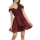Affordable Off-the-shoulder Short Satin Lacing Homecoming Dress