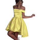 Sexy Off-the-shoulder High-Low Short Satin Homecoming Dress