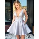 Sexy A-Line V-Neck Short Satin Homecoming/ Prom Dress