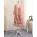 Casual Column V-Neck Short Chiffon Mother Formal Dress with Jackets