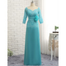 Elegant Long Chiffon Tulle Mother Formal Dress with 3/4 Long Sleeves